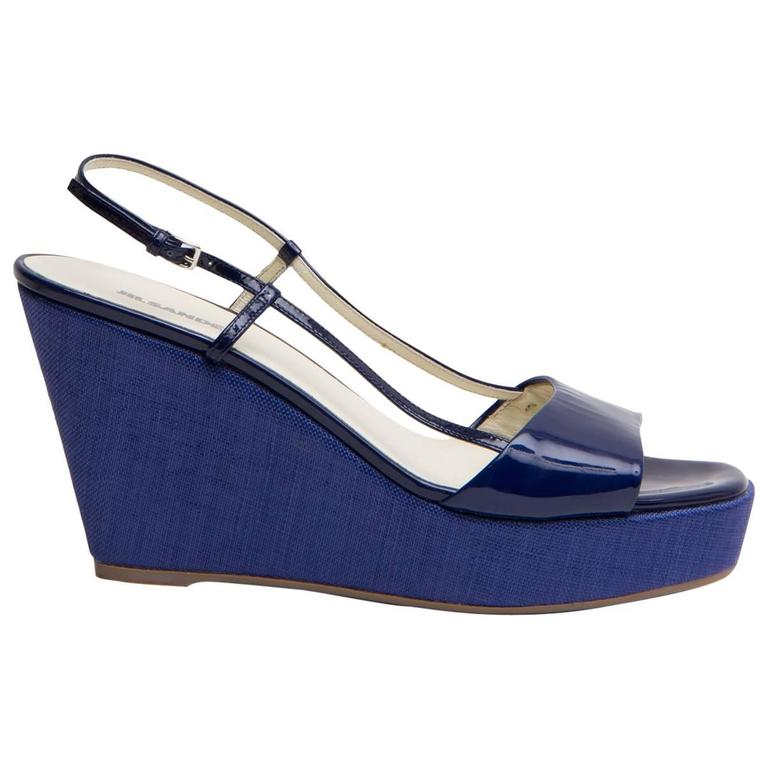 Jil Sander Royal Blue Wedge Sandals