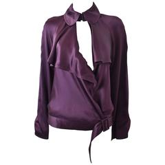 Gaultier Purple Ruffle Wrap-around Top with Bell Sleeves and Collar