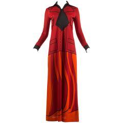 Roberta di Camerino 1973 jersey faux suit print maxi dress