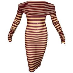 Jean Paul Gaultier Nude and Red Striped Sheer Mesh Off Shoulder Dress, S/S 2003