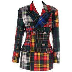 Dolce and Gabbana Plaid Tartan Patchwork Jacket
