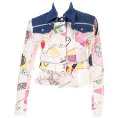 Christian Dior Denim Printed Zip Up Jacket