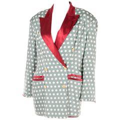Jean Paul Gaultier Polka Dot Silk Double Breasted Jacket Blazer