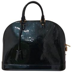 Louis Vuitton dark Green patent leather gold hardware Alma Bag