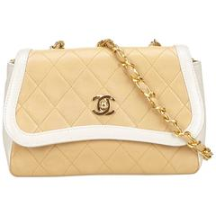 Chanel Beige Quilted Lambskin Leather White Trim Flap Bag