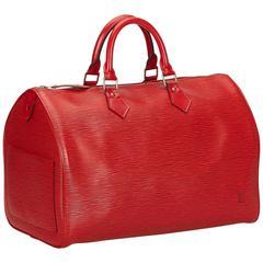 Louis Vuitton Red Epi Speedy 35 Handbag