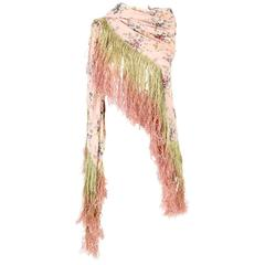 1970s Megan Park Pink Silk Shawl