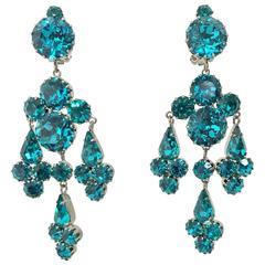 Vintage turquoise rhinestone chandelier clip back earrings Austria 1960s