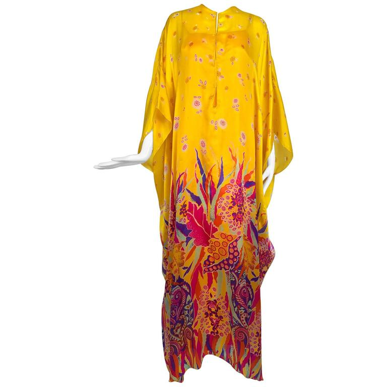 Vintage Oscar de la Renta bright tissue silk print caftan and dress 1970s