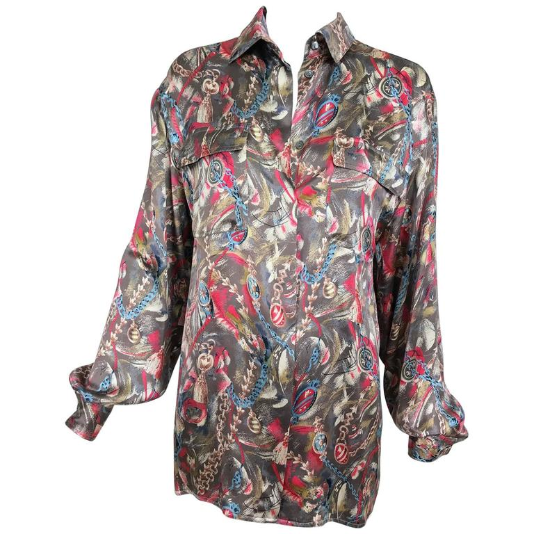 Vintage Gucci silk satin print blouse 1990s For Sale