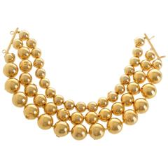 1990s Chanel Gold-Tone Beaded Triple Strand Choker Necklace