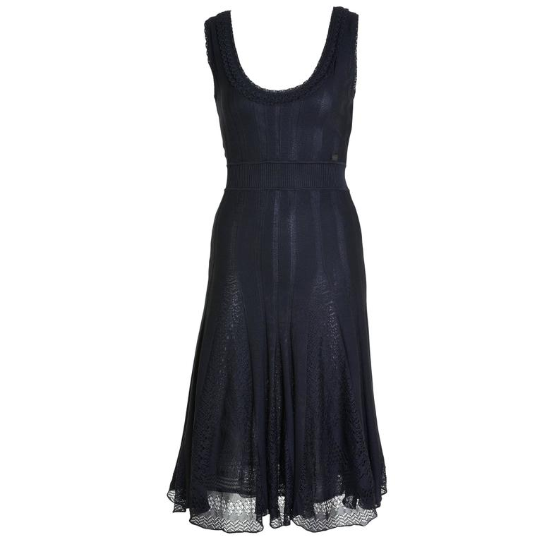 CHANEL Black Sheer Knitted Dress