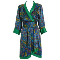 1980s YVES SAINT LAURENT Rive Gauche Arabesque Print Silk Wrap Robe Dress