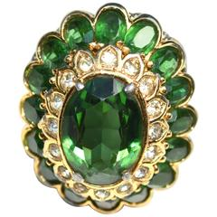 60s Panetta Cocktail Ring Green