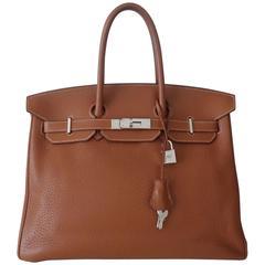 Hermes Birkin Handbag Gold Taurillon Clemence Leather PHW 35 cm