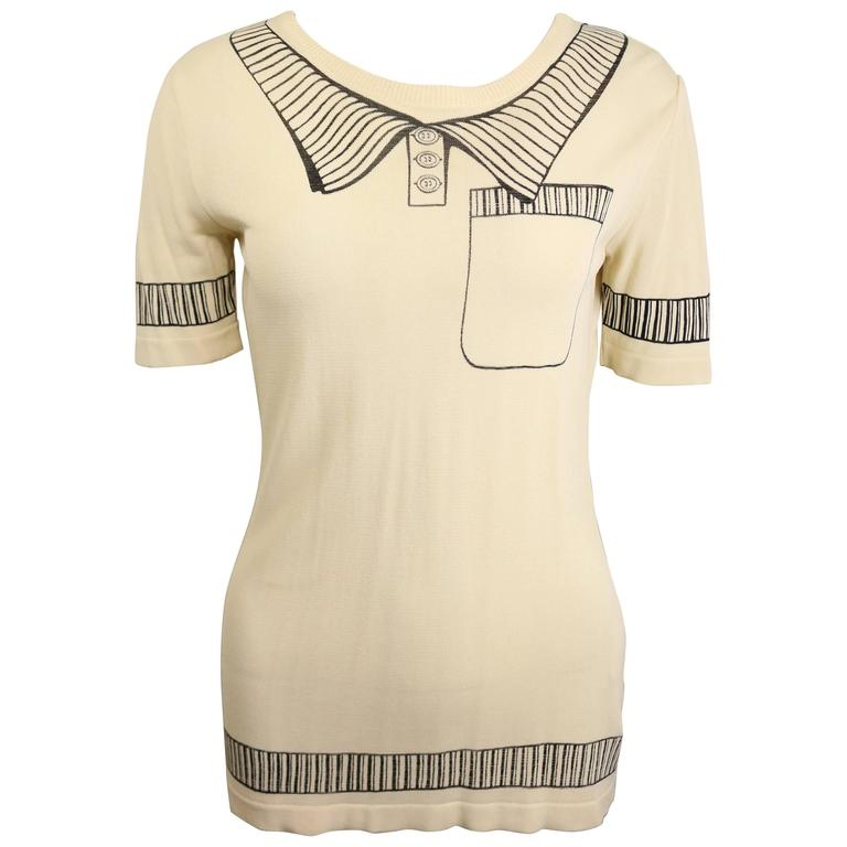 Moschino Couture Short Sleeves Pullover Beige Top with Polo Collar Shirt Printed