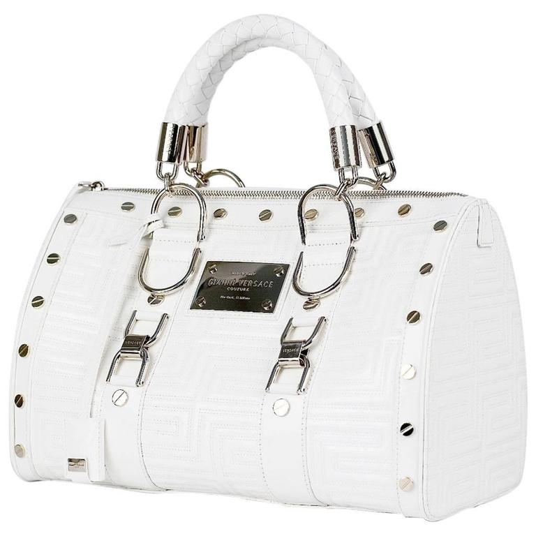 New GIANNI VERSACE COUTURE White Quilted Patent Leather