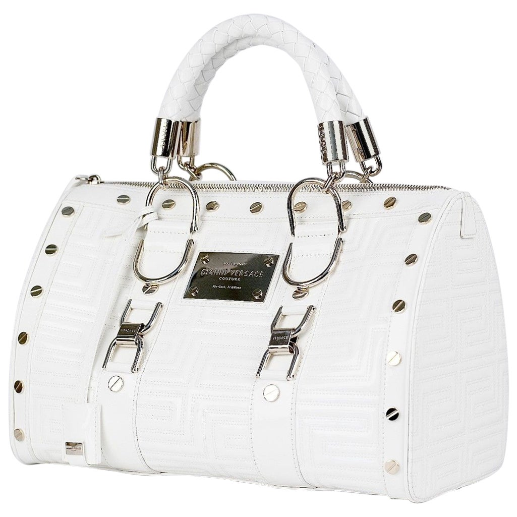 New Gianni Versace Couture White Quilted Patent Leather Snap Out Of It Bag