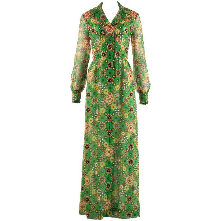 Hardy Amies 1968 silk chiffon embellished maxi dress