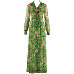 Hardy Amies 1968 silk chiffon embellished maxi dress