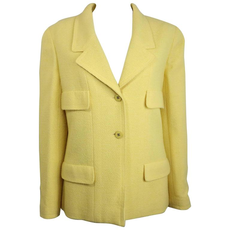 Chanel Yellow Boucle Wool Jacket For Sale