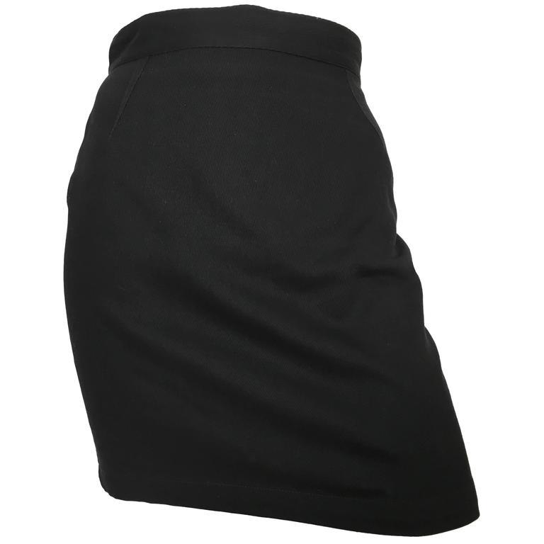 Thierry Mugler 1990s Black Cotton Mini Skirt Size 4.