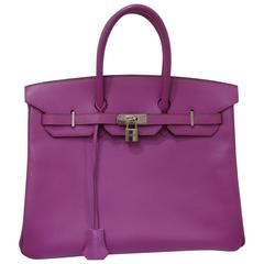 Hermes purple leather silver hardware Birkin 35 bag