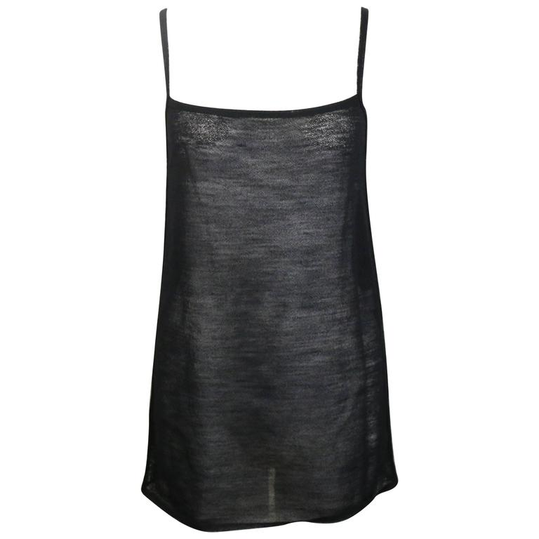 Gucci by Tom Ford Black Wool See Through Spaghetti Tank Top