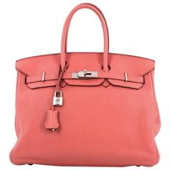 Hermes Birkin Handbag Bougainvillea Clemence with Palladium Hardware 35