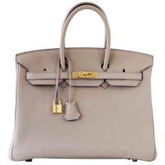 Hermes Birkin 35 Bag HSS Gris Tourterelle Purple Stitch Gold Blue Paon