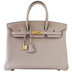 Hermes Birkin 35 Bag HSS Gris Tourterelle Purple Stitch Gold Blue Paon