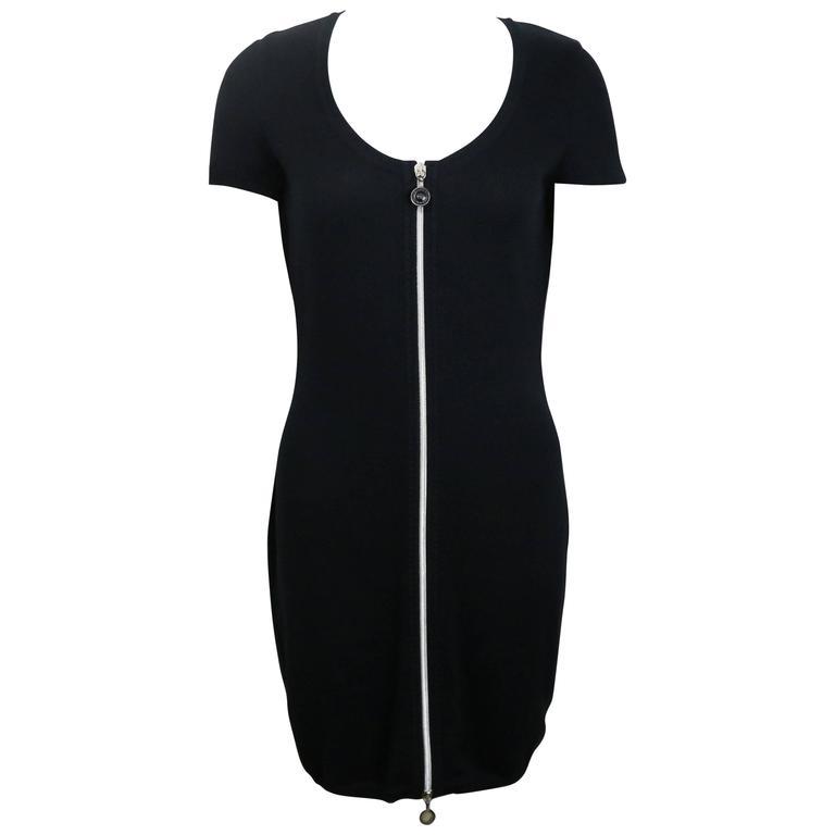 Gianni Versace Black Zipper One Piece Dress