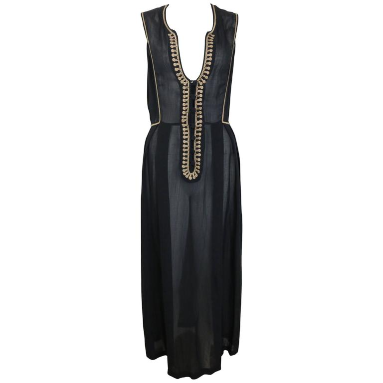 ce8cd9b8b75 Emporio Armani Black Linen Embroidered Sleeveless Maxi Dress For Sale