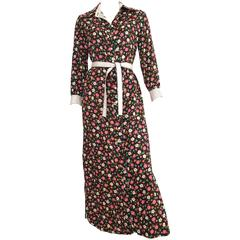 Geoffrey Beene Floral Cotton Button Up Dress with Belt Size 8.