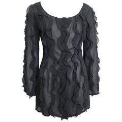 Jacques Molko Black Silk See Through Ruffle Shirt