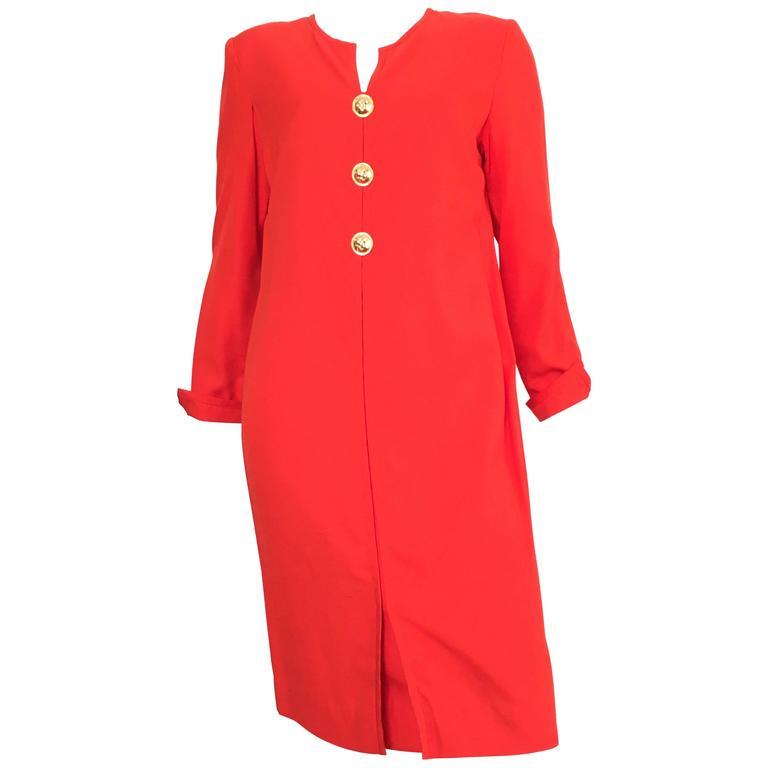 Carolina Herrera 1980s Silk Dress Size 10. For Sale