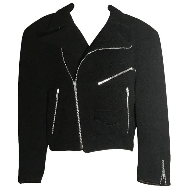 1980s Sprouse by Stephen Sprouse Black Wool Biker Jacket with Zipper Pockets