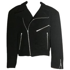 Sprouse by Stephen Sprouse Black Wool Biker Jacket with Zipper Pockets, 1980s