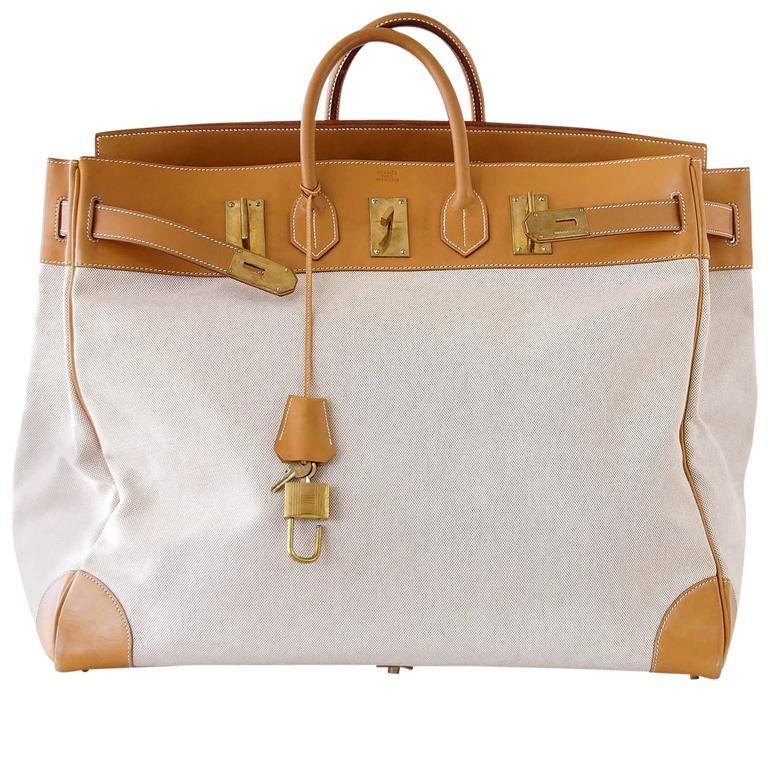 Hermes Birkin 55 Bag Hac Toile Vache Naturelle Brass Hardware
