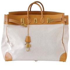 HERMES BIRKIN 55 Bag Hac Toile Vache Naturelle Brass Hardware