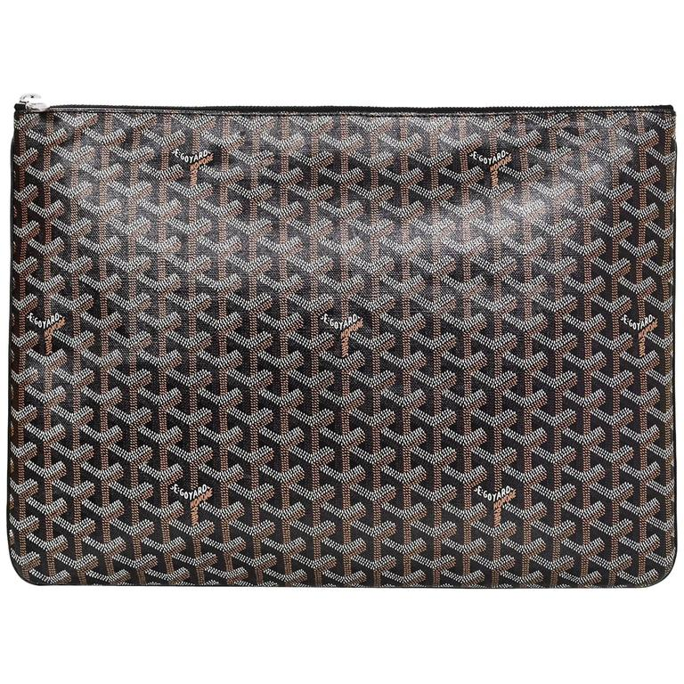 Goyard Black Chevron Senat Gm Clutch For Sale At 1stdibs