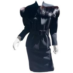 Claire Two Piece Fox Fur Jacket with Pencil Skirt