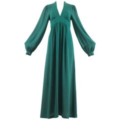 Ossie Clark 1970 green moss crepe maxi dress