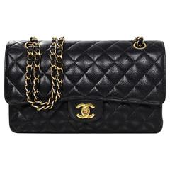 Chanel Black Quilted Caviar Classic Medium Double Flap Bag