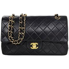 "Chanel Black Lambskin Leather Quilted Classic Medium 10"" Double Flap Bag"