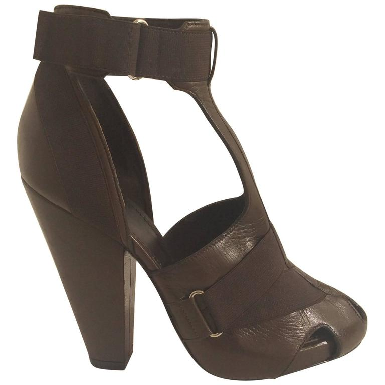 Givenchy Brown Leather Elastic Strappy Platform Sandals Sz 38 Heels For Sale