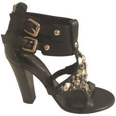 Giuseppe Zanotti For Balmain Black Leather Jeweled Sandals