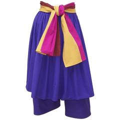 Colorful 1970's Gucci Cotton Culottes With Skirted Overlay