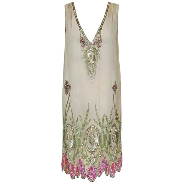 1920's Floral Garden Beaded Rhinestone Embroidered Silk-Chiffon Flapper Dress For Sale