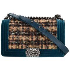 Chanel Paris-Edinburgh Velvet & Tweed Old Medium Boy Bag
